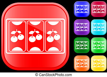 Icon of slot machine on shiny square buttons