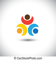 Concept vector of friendship - three friends together. This...