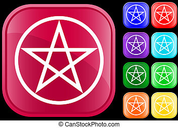 Pentagram symbol on shiny square buttons