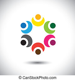 colorful children playing in circle - school concept vector
