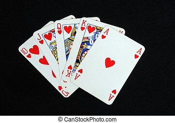 Royal flush poker hand - Royal flush poker hand in the heart...