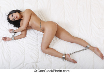 nude or naked woman handcuffed - beautiful nude or naked...