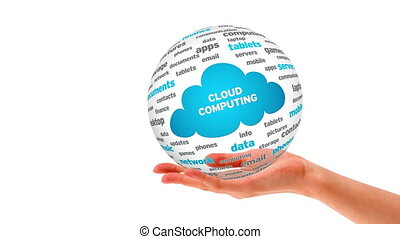 Cloud Computing Word Sphere - A person Holding a 3D Cloud...
