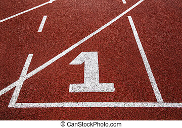 Running track with number 1, texture for background.