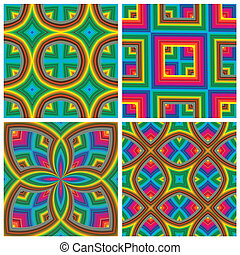 Psychedelic Pattern Set - Seamless funky pop art texture...