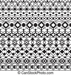 Art Deco Borders in Black and White - Seamless pattern of...