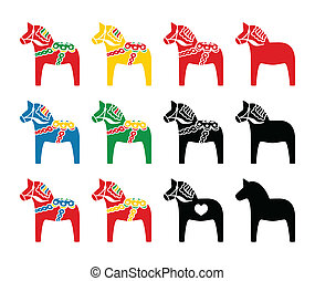 Swedish dala horse vector icons set - Symbol of scandynavia...