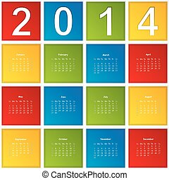 2014 Calendar paper design. Vector illustration