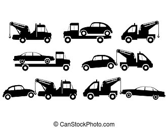 Tow truck silhouettes