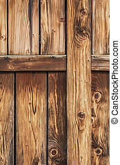 Antique Rustic Pine Wood Barn Door - Detail