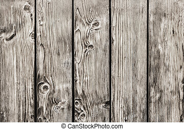Old Pine Wood Planks Fence With Knots - Detail