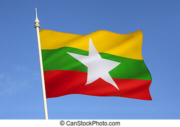 Flag of Myanmar Burma - The Republic of the Union of...
