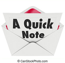 Quick Note Words Message Letter Message News Update - A...