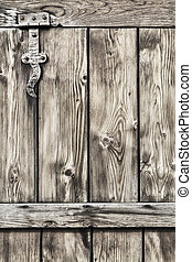 Antique Rustic Pine Wood Barn Door - Detail