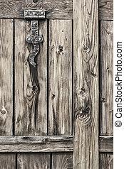 Antique Rustic Pine Wood Door With Wrought Iron Hinge -...