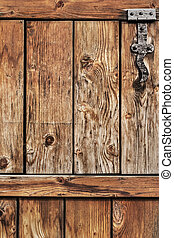 Antique Rustic Pine Wood Door With Wrought Iron Hinge -...