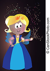 fairy - Vector Illustration of a cute princess fairy