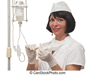 Nurse preparing to hold intravenous drip medication -...