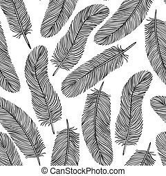 black-and-white Feather seamless background. Many...