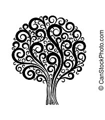 black tree in a flower design with swirls and flourishes on...