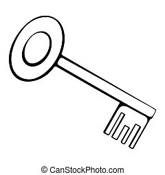 black and white outline of the key