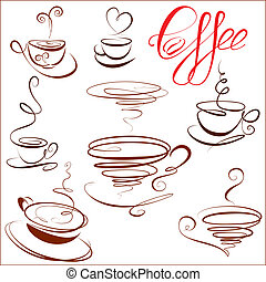Set of coffee cups icons, stylized sketch symbols for...
