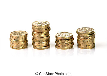Stacks of British pound coins - Stack of British pound coins...