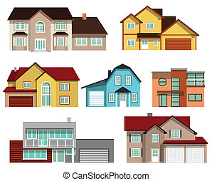 Townhouses collection - city buildings group