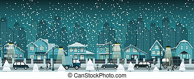 Night city in winter - vector