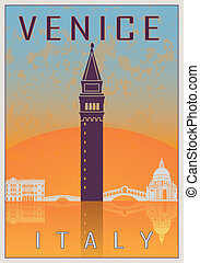 Venice vintage poster in orange and blue textured background...