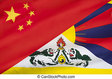 Flags of Free Tibet and China