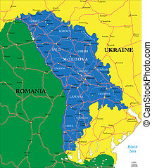 Moldova map - Highly detailed vector map of Moldova with...