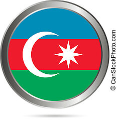 Azerbaijan flag button. The colors of original.