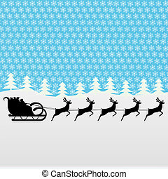 Santa rides a reindeer on a blue background