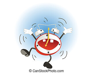 Cartoon alarm clock - Funny cartoon alarm clock jumping and...