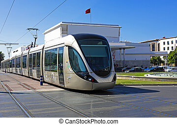 Tram driving in Rabat Morocco