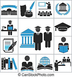 High education icons. Vector set for you design