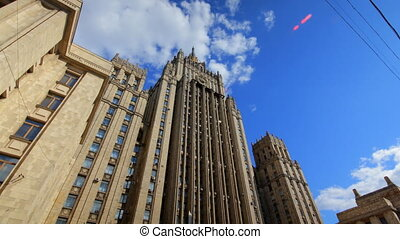 Ministry of Foreign Affairs buiding in Moscow Russia time...