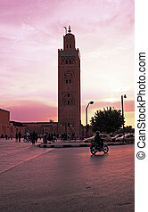 View on the Koutoubia mosque in Marrakech Morocco at sunset
