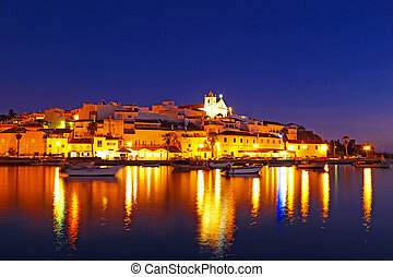 Ferragudo at night - a typical city of Algarve Portugal