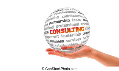Consulting Word Sphere - A person holding a 3D Consulting...