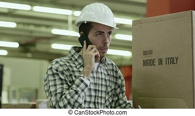 18of19 People working in warehouse - Portrait of young man...