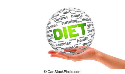 Diet Word Sphere - A person holding a 3D diet word sphere