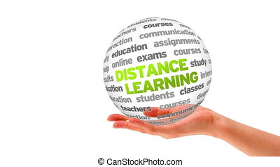 Distance Learning Word Sphere - A person holding a 3D...