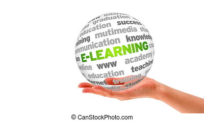E- Learning Word Sphere - A person holding a 3D E- Learning...