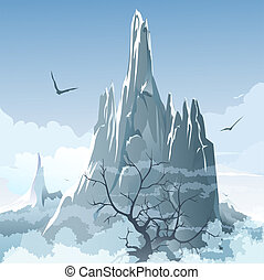 The mountains - Illustration with naked tree against foggy...