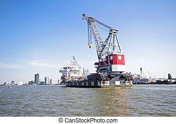 Cargo container in the harbor from Rotterdam the Netherlands