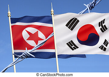 Flags of North and South Korea - The flag of North Korea was...