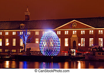 AMSTERDAM, NETHERLANDS - DECEMBER 07 2012: Illuminated...