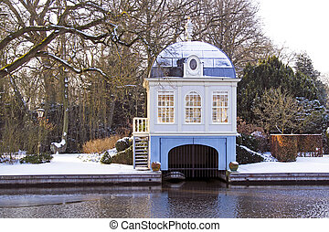 Traditional boat house in the countryside from the...